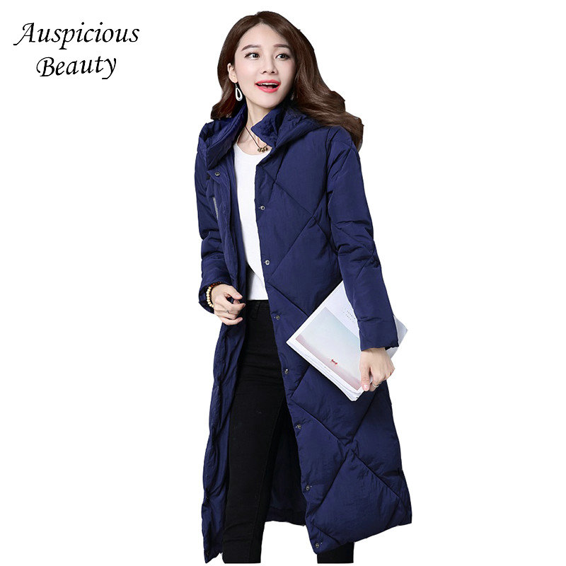 Women Winter Long Cotton Coat Outerwear Thick Warm Wadded Down Jacket Solid Slim Hooded Single Breasted Coat Lady Parkas QJW107 2018 winter women jacket coats slim medium long down cotton hooded outerwear thick warm casual jacket student coat lady clothing
