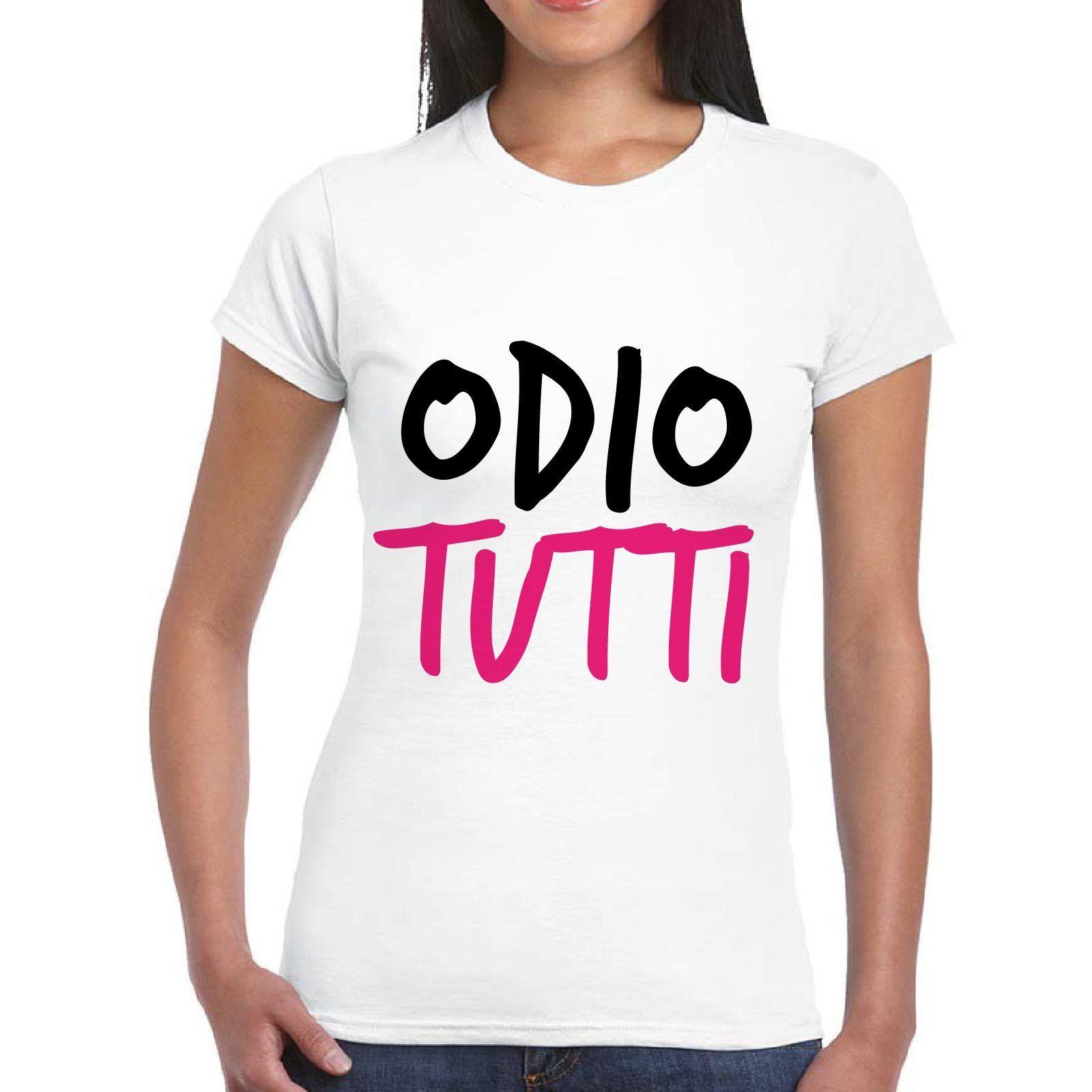 2018 Fashion T-Shirt Divertente Donna Maglietta Maglia Con Stampa Frasi Simpatiche Odio Tutti Fashion Women Tshirt ...