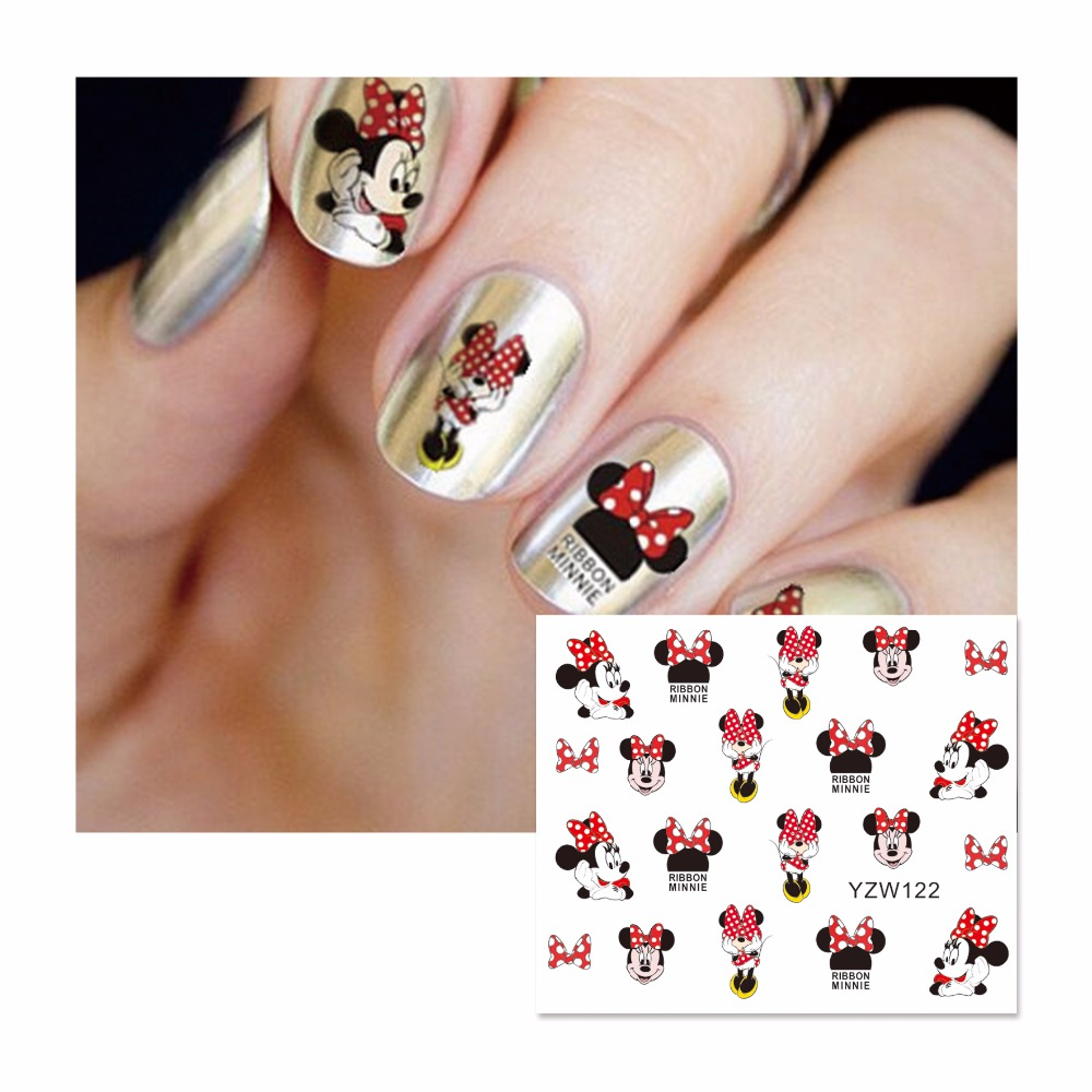 ZKO 1 Sheet Cartoon Watermark Stickers Nail Art Water Transfer Tips Decals Beauty Temporary Tattoos Tools 122 стоимость