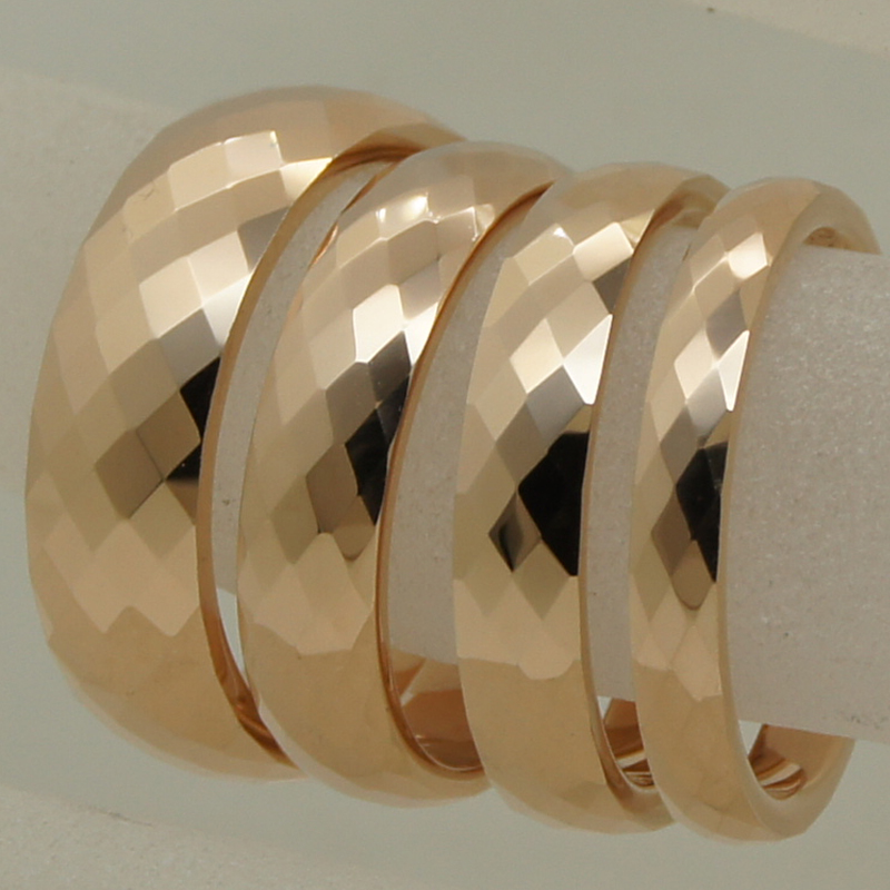 3mm width rare women/girl rose gold plating multi facet tungsten ring - Fashion Jewelry - Photo 5