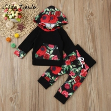 New cute autumn winter baby boy girl clothesToddler Infant Baby Boy Girl Floral Hoodie Tops+Pants Outfits Clothes Set Sweater