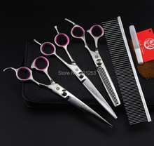 Stainless Steel 7 0Inch 3Pcs Set Pet Grooming Scissors Silver Dog Shears Big Straight Cutting Thinning