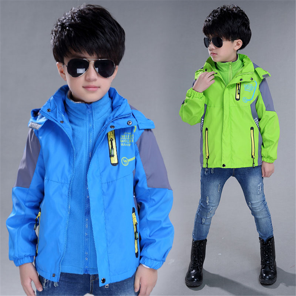 New Fashion Spring Autumn Children Outdoor Jacket Sets Hooded Jacket + Detachable Liner Boys Clothing Kids Outwears 2 Pcs