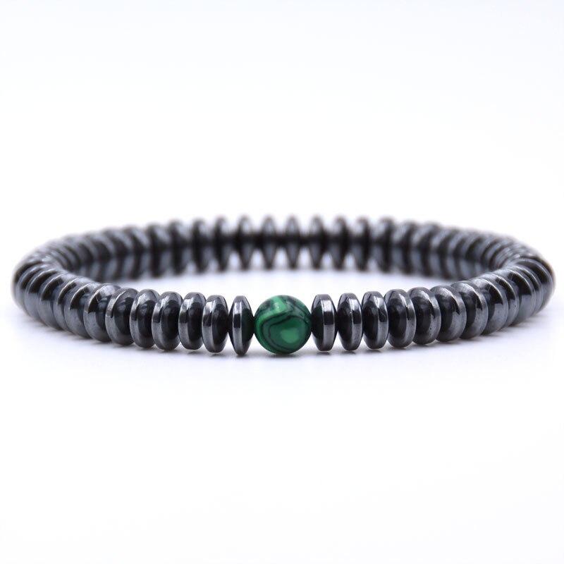 NIUYITID Hematite Bracelet Men\` Jewelry European Fashion Elastic Rope Braclet Women Accessories Charm High Quality (7)
