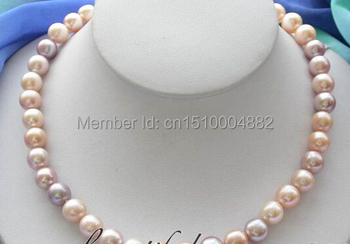 "shitou 00218 AAAAA Real 17"" 11mm lavender pink round FW pearl necklace"