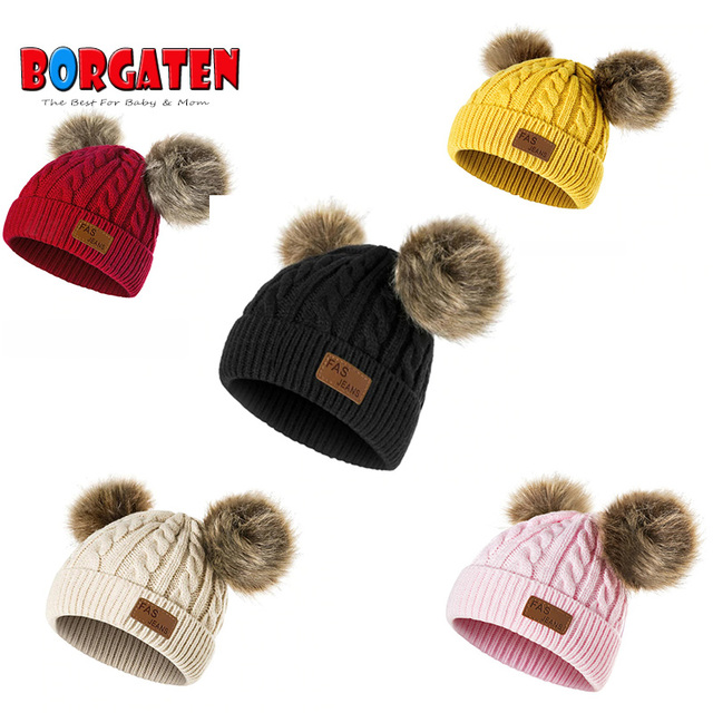 17863b25693 Baby Winter Hat Pom Pom Hats Crochet Beanie for Kids Toddler Girl Boy  Bonnet Newborn Photography Props Warm Cute Christmas-in Hats   Caps from  Mother   Kids ...