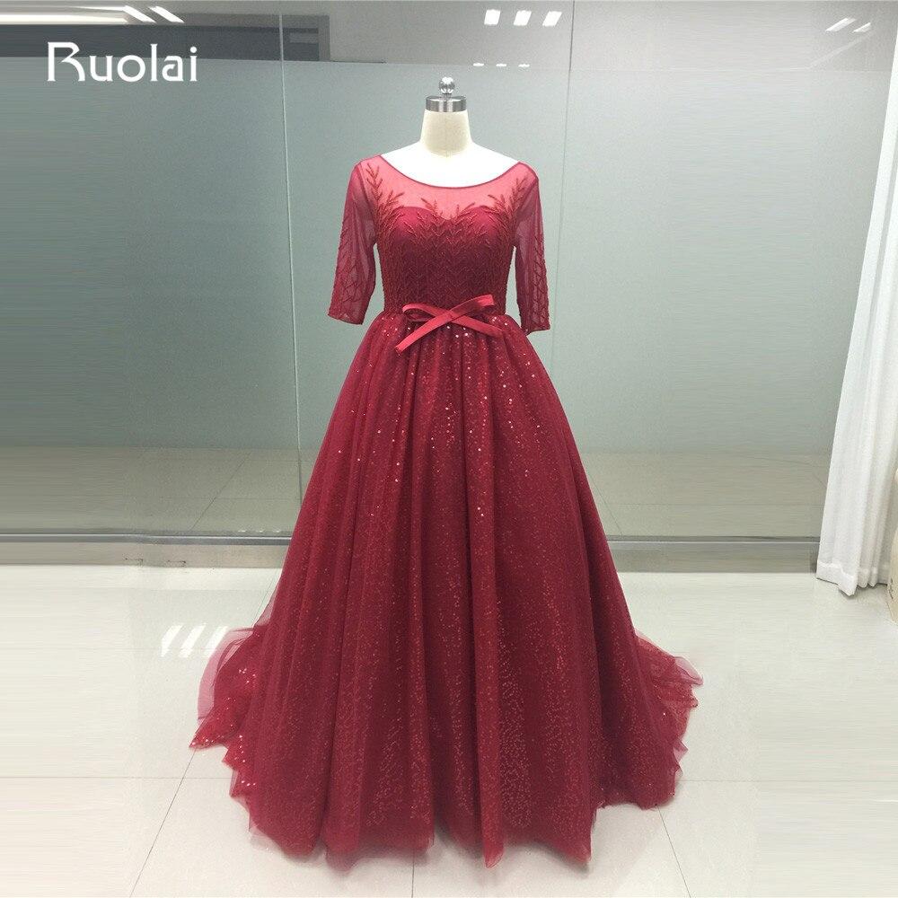 2019 Luxury Beaded Dubai Half Sleeves Ball Gown Burgundy Evening Dresses Tulle Plus Size Prom Dress Vestido de Festa PD28