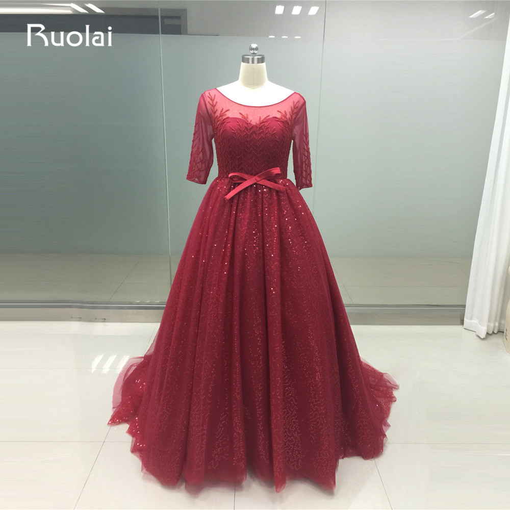 2019 Luxury Beaded Dubai Half Sleeves Ball Gown Burgundy   Evening     Dresses   Tulle Plus Size Prom   Dress   Vestido de Festa PD28