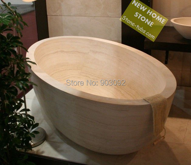 White Marble Tubs Oval Shape Luxury Design Japanese Type