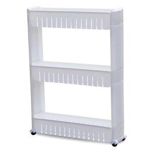 Image 2 - Praktische Weiße 3 Tier Slide Out Hohl Lagerung Turm in Bad Mit Räder Home Küche Regal Nützlich Veranstalter Speichern Raum