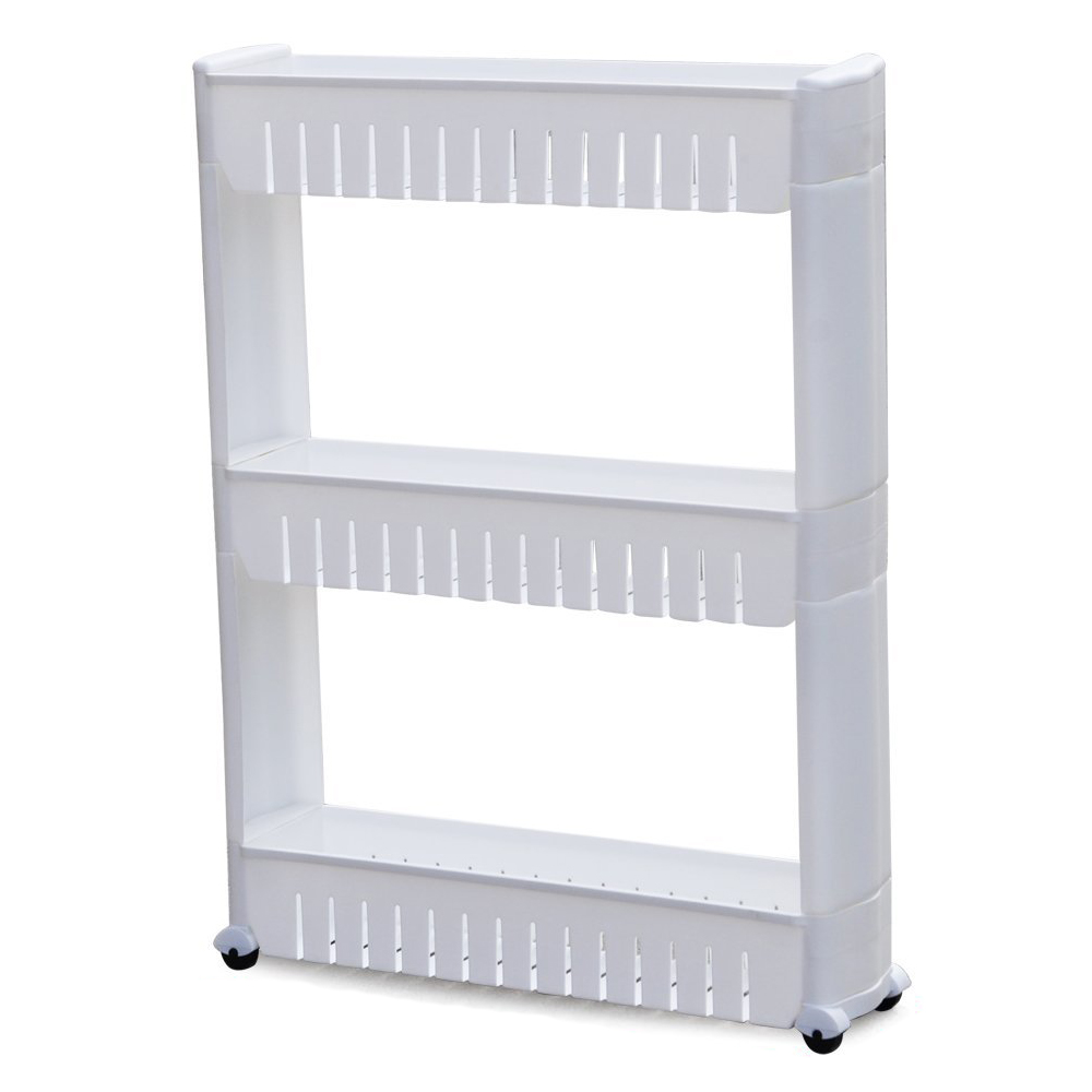 Image 2 - Pratical White 3 Tier Slide Out Hollow Storage Tower in Bathroom With Wheels Home Kitchen Shelf Useful Organizer Save Space-in Storage Holders & Racks from Home & Garden