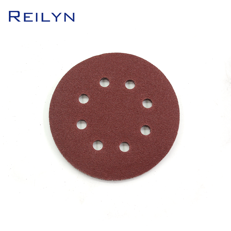 Abrasive Circular Sandpaper Tray Flocking Red 5 Inch With Holes Pneumatic Sandpaper Machine Furniture Metal Ship Polishing