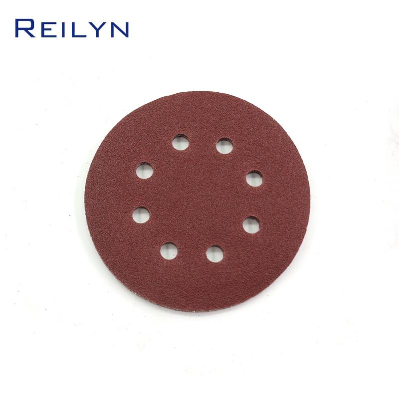Abrasive Circular Sandpaper Tray Flocking Red 5 Inch With Holes Pneumatic Sandpaper Machine Furniture Metal Ship Polishing