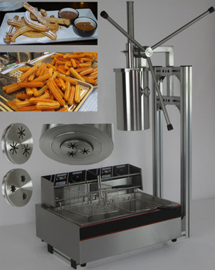5L Capactity commercial electric churro maker with 12L Deep Fryer making three pieces at one time fast food leisure fast food equipment stainless steel gas fryer 3l spanish churro maker machine
