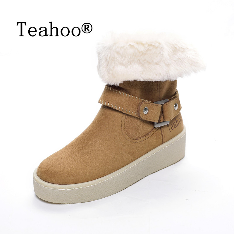 Women Ankle Boots Warm Fur Winter Shoes Women Waterproof Snow Boots Martin Round Toe Comfortable Women Shoes Boots british style