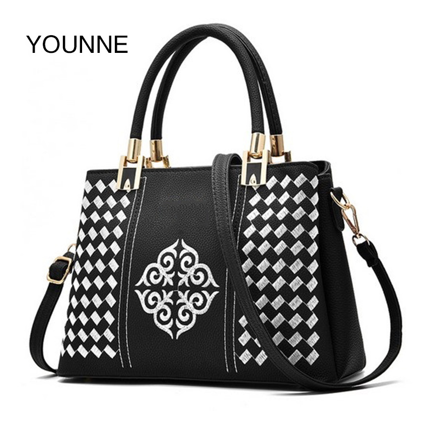 YOUNNE Women Leather Handbag Lady Casual Messenger Bags Packet Purses and Handbags Brown Brand Female Fashion Shoulder Bag 2017 fashion women s handbags brand crocodile pu leather zipper lady one shoulder bag casual messenger totes bags case female purses