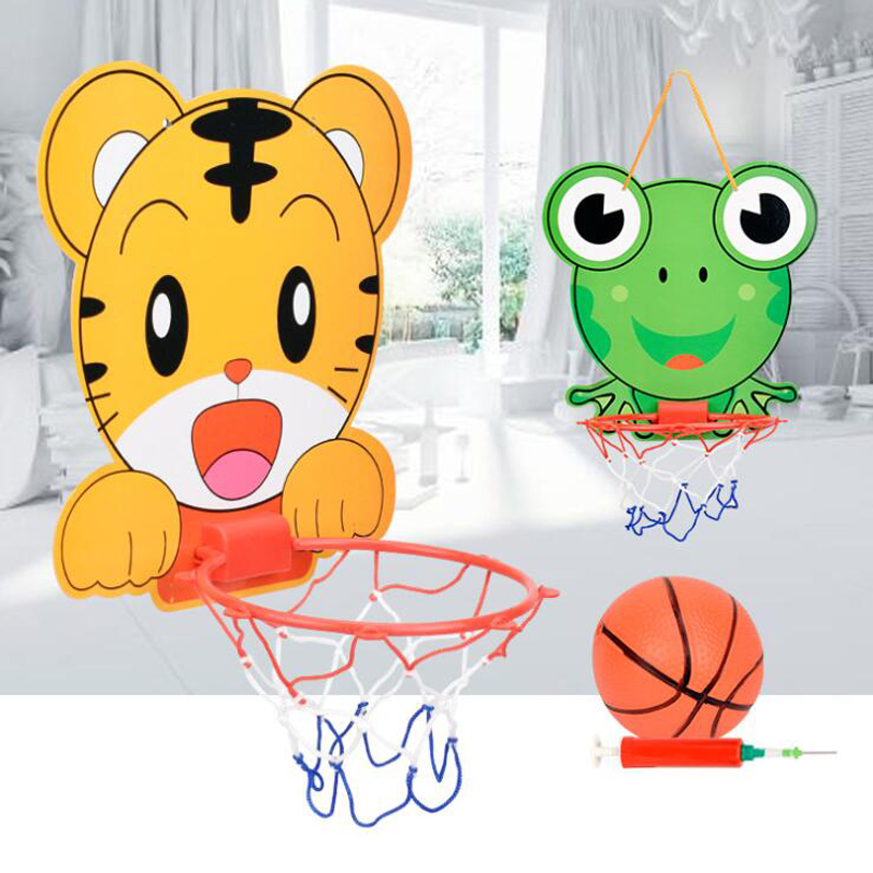 Hanging Basketball Hoop With Ball Toys Adjustable Baby Basketball Toys Cartoon Tiger/Frog Children Kids Indoor Sports Game Gift
