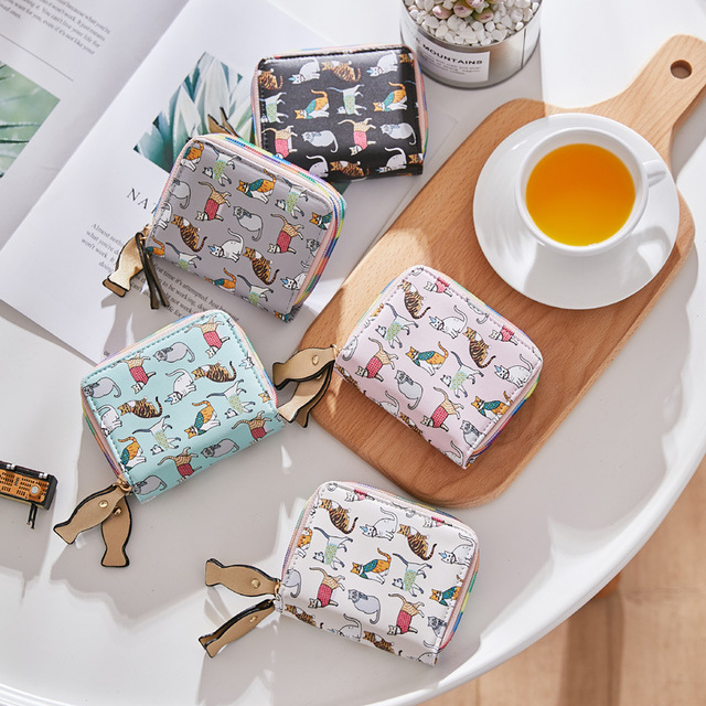 Wallet with cat print