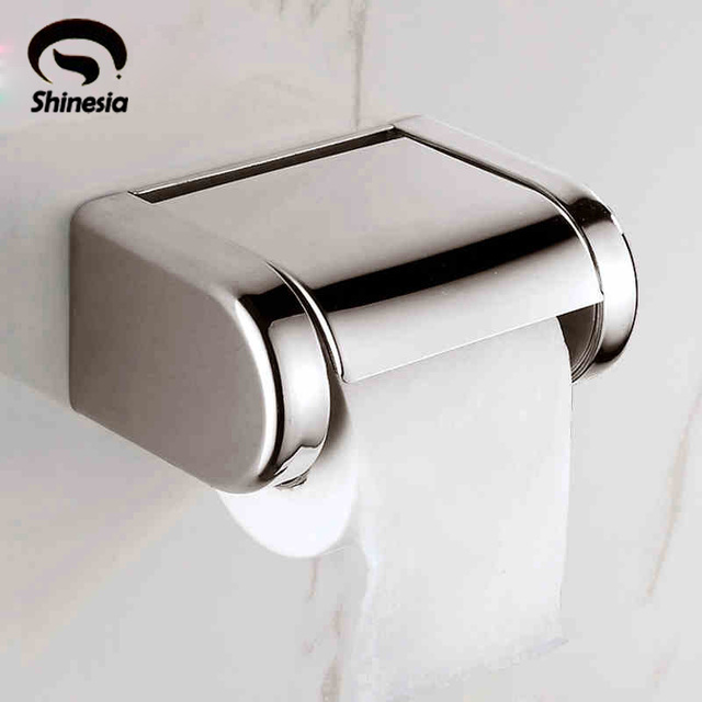 Newly Modern Style Bathroom Toilet Paper Holder Stainless Steel Tissue Rack Chrome Polished Waterproof Box