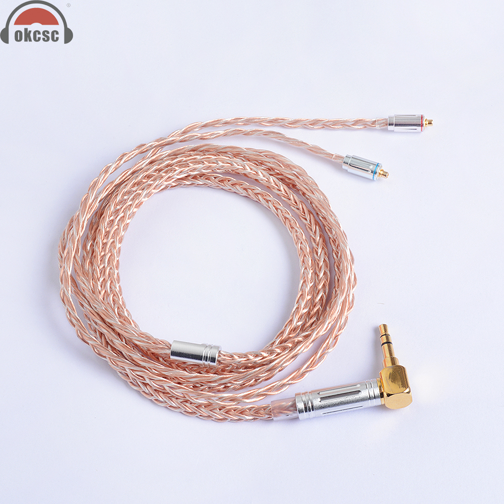 OKCSC 8 Core MMCX Cable 7N Single Crystal Plated Silver and Copper Upgrade Cable for Shure SE846, SE535, SE315, SE215, UE900 mmcx updated hifi cable 5n 8 core detachable copper plated silver for se535 se846 ue900 ue18 tf10 ie80 tf15 headphone earphone