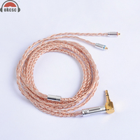 OKCSC 8 Core MMCX Cable 7N Single Crystal Copper Plated Silver Upgrade Cable For Shure SE846