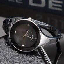 2017 mujeres de la manera del reloj marca kimio reloj de cuarzo brazalete de acero inoxidable simple reloje informal femenina rhinestone reloj de pulsera