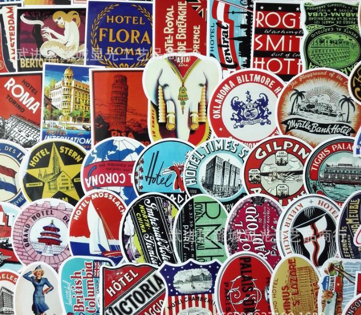 55pcs/set Vintage Landmark Hotel in the world Thai Euro luggage pull rod box graffiti stickers tag creative toy suitcase paster