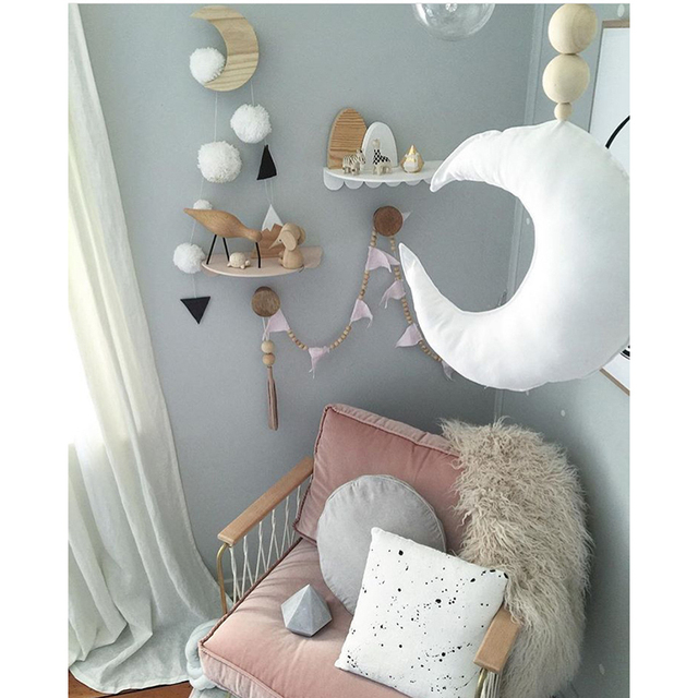 Bambino Luna Giocattoli Wall Hanging Tenda Decorazioni Ornamenti di Legno  nordico Accessori Bambini Nursery Interior Decor 8c3dc75f63c9