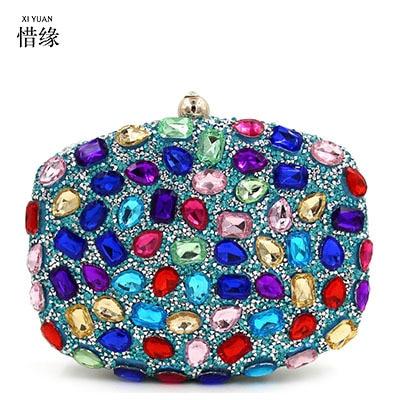 XIYUAN BRAND womens newest blue Diamonds Clutch Bag ladies Evening Bag Diamond Studded Handbags Women Bridal Party Purse wallet
