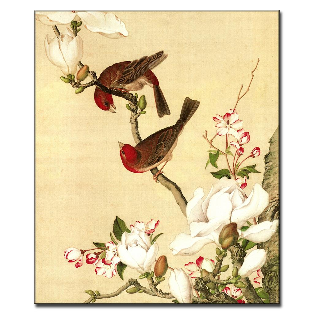 1 Pcs Traditional Chinese Birds Painting On Canvas Retro LoverBirds ...