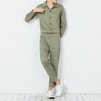 Winter Men's Jumpsuits Korean style singer costumes Men hip hop dancing jumpsuit Khaki Military Cargo Bib Overalls Pants 072504