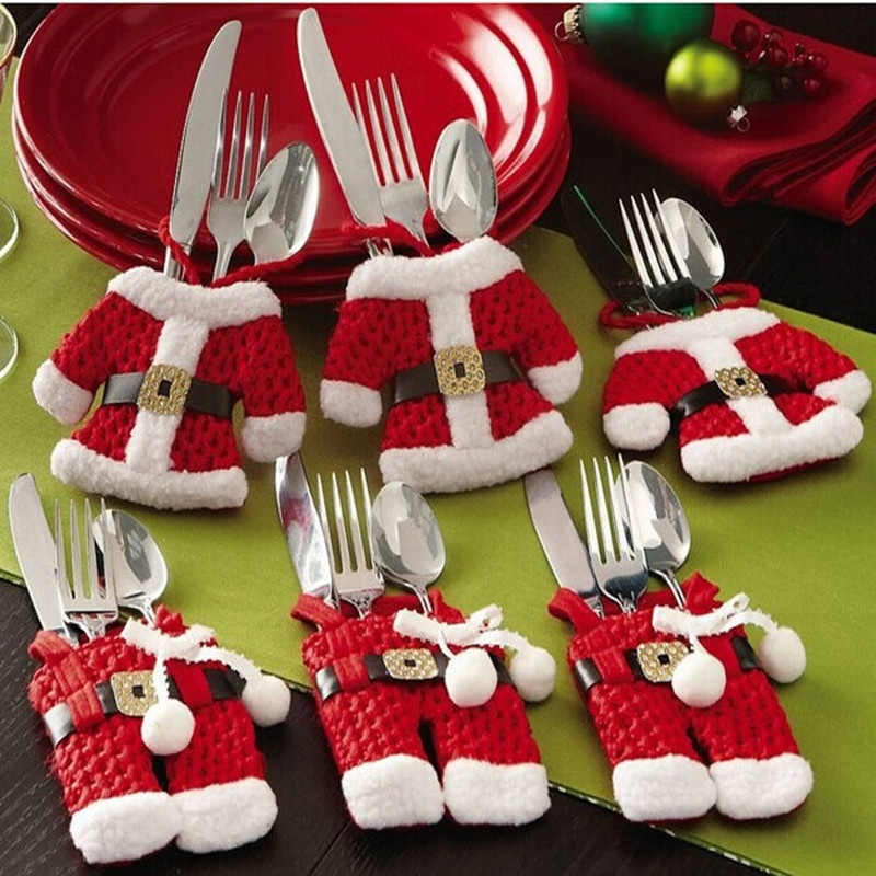 6Pcs Christmas Decorations Santa Silverware Holders Pockets Dinner Decorations for home deco noel l1023