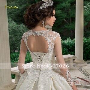 Image 4 - Loverxu スクープ夜会服のウェディングドレス 2019 アップリケビーズロングスリーブ花嫁ドレスチャペルの列車の花嫁衣装プラスサイズ