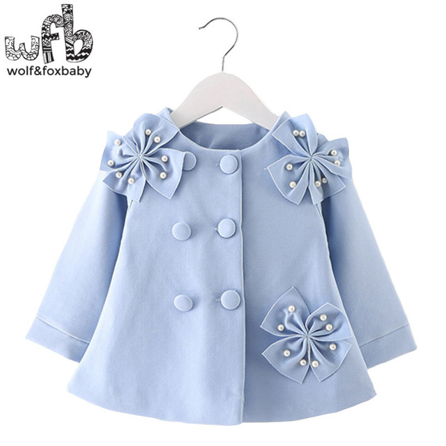 Retail 0-3 years coat solid color full-sleeves three flowers trench kids children spring autumn fall