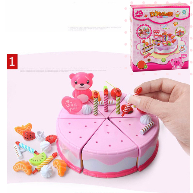 Mylitdear Play Food 37PCS Miniature Kitchen Pink Birthday Cake Toy Children Educational Pretend Play Kids Toys For Girls Gift