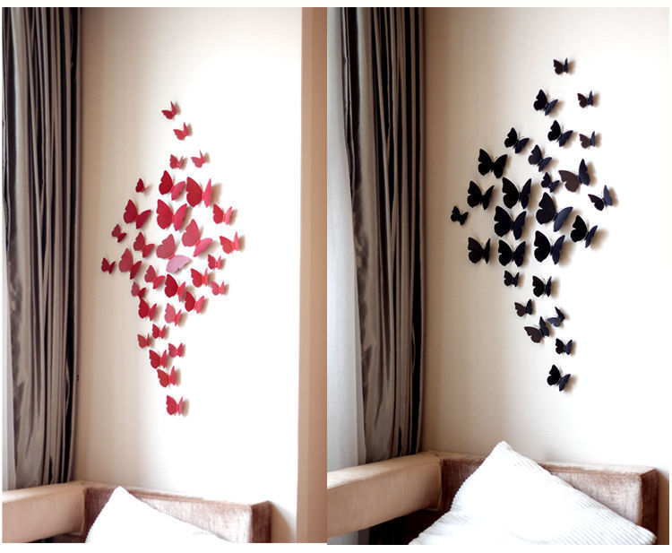 12 Pcs 3D Wall Sticker Art Decals Stickers Beauty Butterfly Home Decor DIY  Room Decoration Wallstickers In Wall Stickers From Home U0026 Garden On ...
