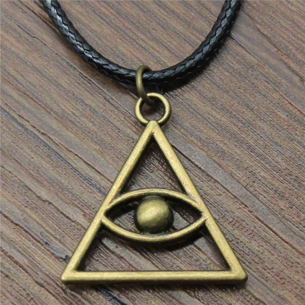 28x26mm Triangular Eye Pendant Necklace For Women Antique Bronze Color Fashion Leather Chain Necklace