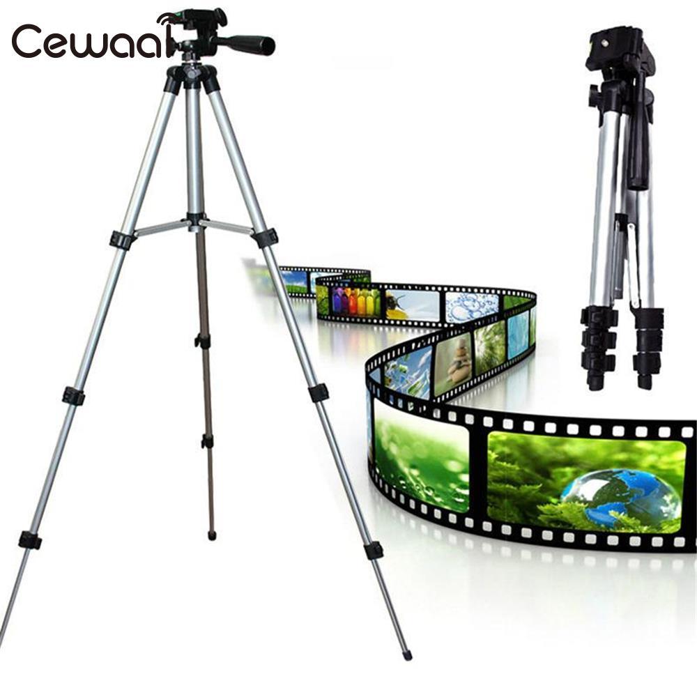 Cewaal Portable Aluminum Alloy 4 Sections DSLR Camera Tripod Monopod Mobile Phone Stand Holder Desktop Photography