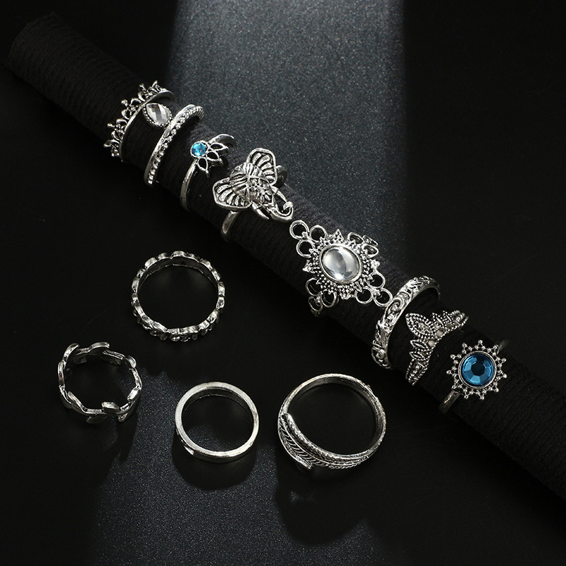 Bague Femme Vintage Rings for Women Boho Geometric Flower Crystal Knuckle Ring Set Bohemian Midi Finger Jewelry Silver Color 37