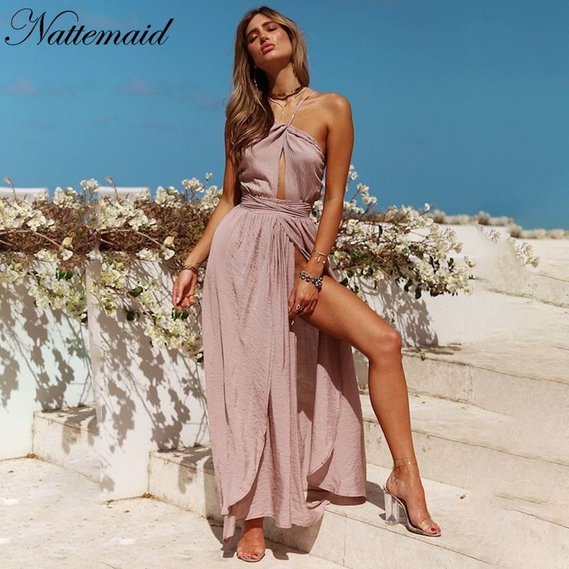 Buy NATTEMAID 2018 Summer Autumn New Pattern Sexy Dresses Long Maxi Vacation Beach Backless Halter Dress Women Pink Split Vestidos