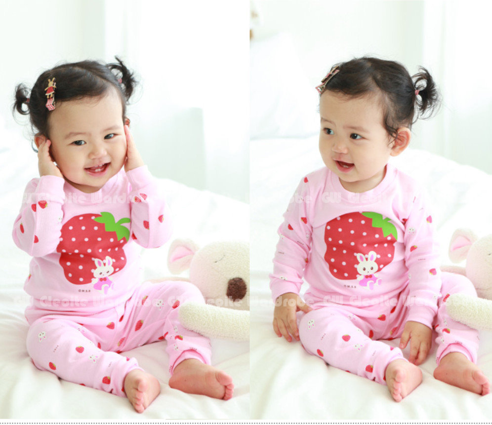 Free Shipping- STOCK CLEARANCE SALE!!! pink strawberry GW pajamas cotton kids/girls pajamas sleepwear 2pcs set(MOQ: 1 set)
