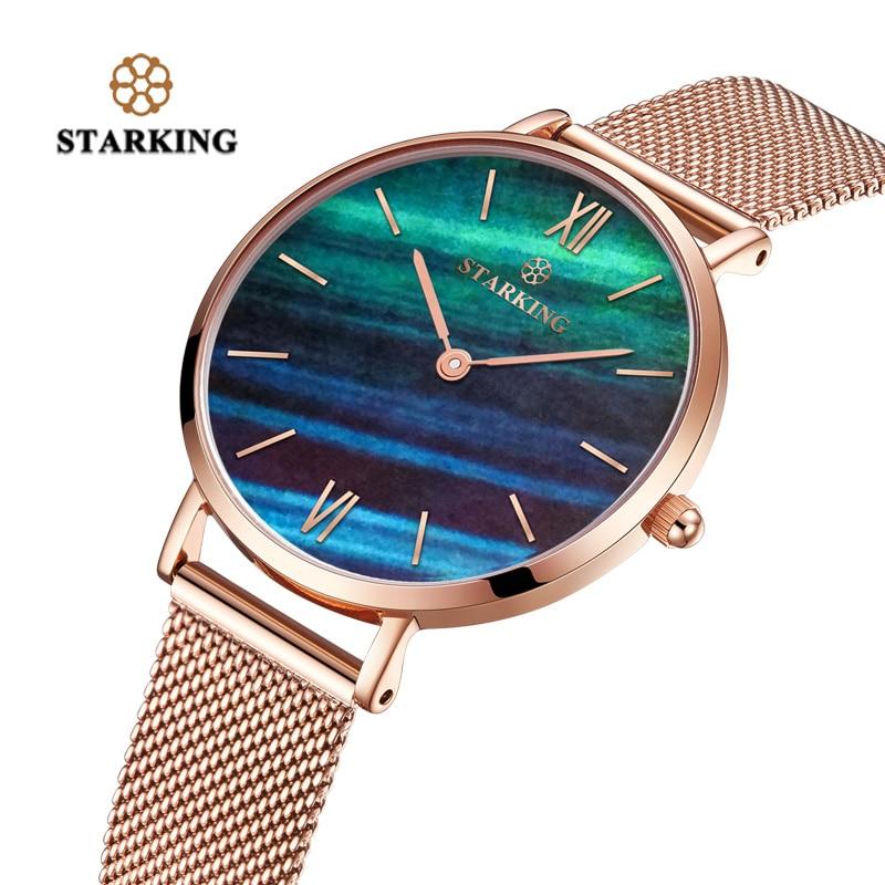 Image 2 - STARKING Top Brand Fashion Ladies Mesh Watches Female Quartz Watch Emerald Women Luxury Stainless Steel Watch Reloj Wristwatcheswristwatch brandwristwatch womenwristwatch quartz watch -