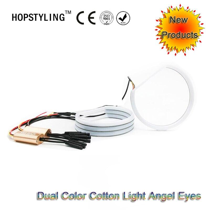 Voiture style Double Couleur Blanc et Jaune Coton lumière angel eyes Pour BMW E36 E38 E46 projecteur Pas D'erreur led phares halo anneaux