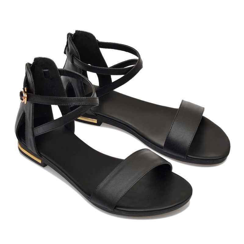 Asumer Big Size 31-46 Nieuwe Lage Prijs Echt Lederen Sandalen Vrouwen Gesp Zip Casual Platte Sandalen Effen Zwart kleur Dames Schoenen