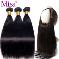 Mi Lisa 360 Lace Frontal Closure With Bundles Malaysian Hair Weave Straight Hair Bundles Remy Human Hair 3 Bundles With Frontal