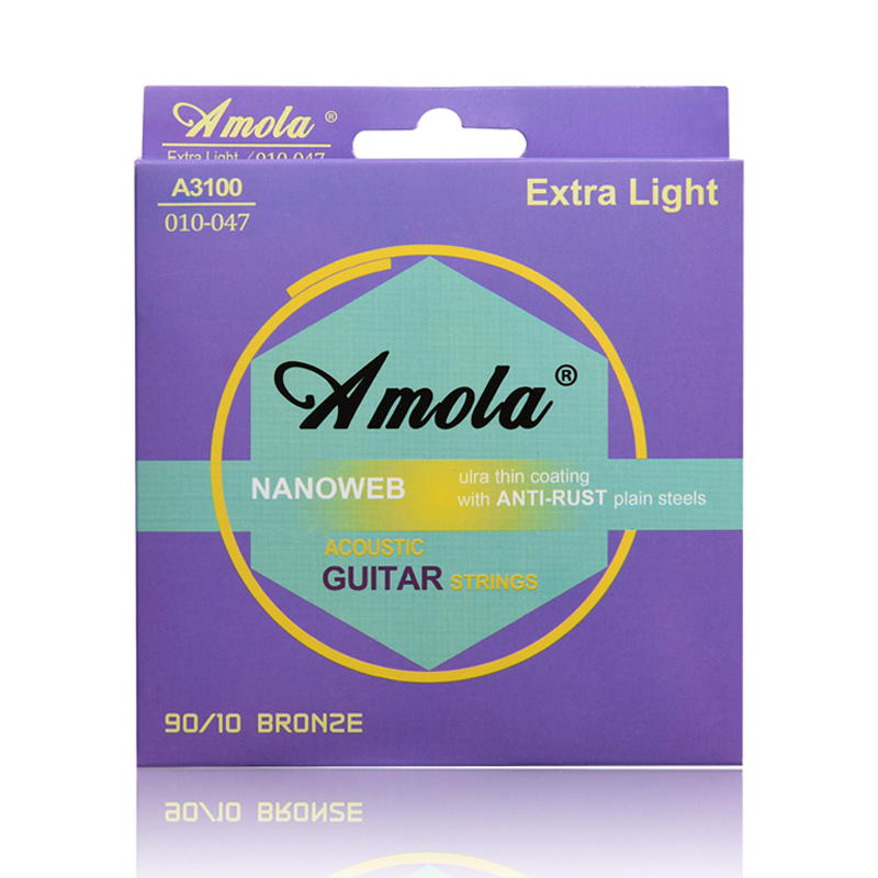 Amola 010 011 012 NANOWEB 90/10 BROZE Wound Acoustic Guitar Strings Phosphor  Thin Coating amola 009 010 regular light gauge nickel alloy wound electric guitar strings e1300