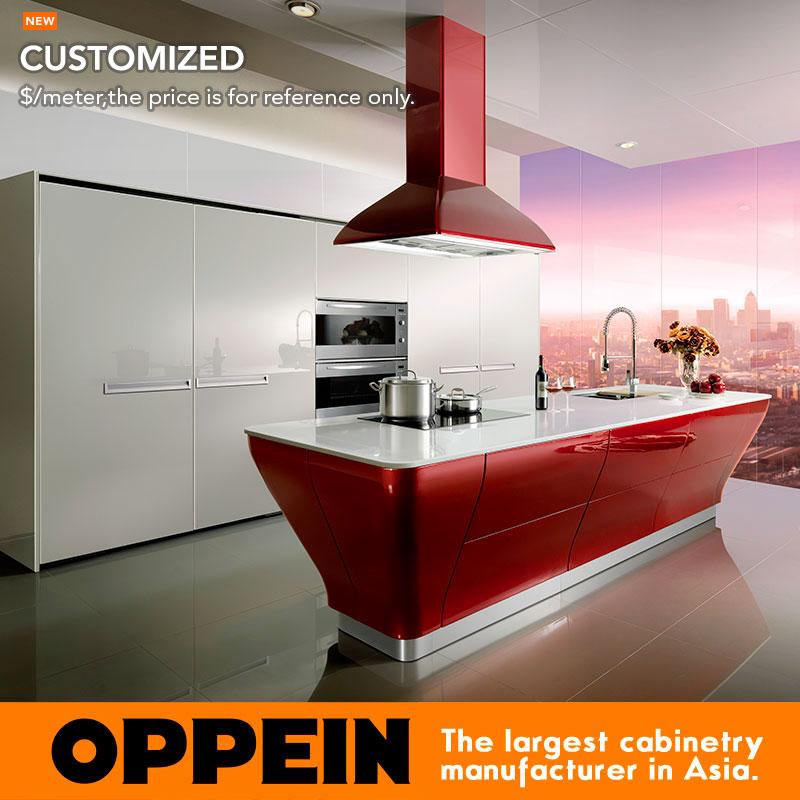 venta caliente de alto brillo gabinete de cocina lacado blanco modernos muebles de cocina op