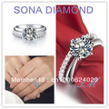 Xmas Gift 0.5CT Infinity band ring wedding women white gold Plated 1CT Engagement diamond rings set 2 rings in one set