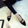 2016 New Summer European Style Sweet Lace-up Pointed Toe High Quality Women Flat Shoe HSC26