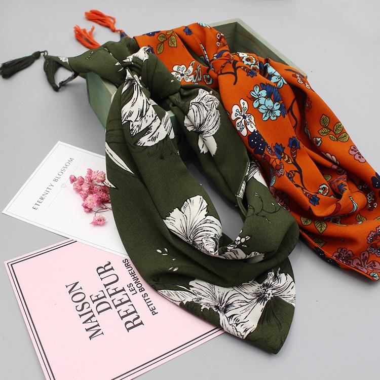Floral Triangle Skinny Scarves   Neck Scarves